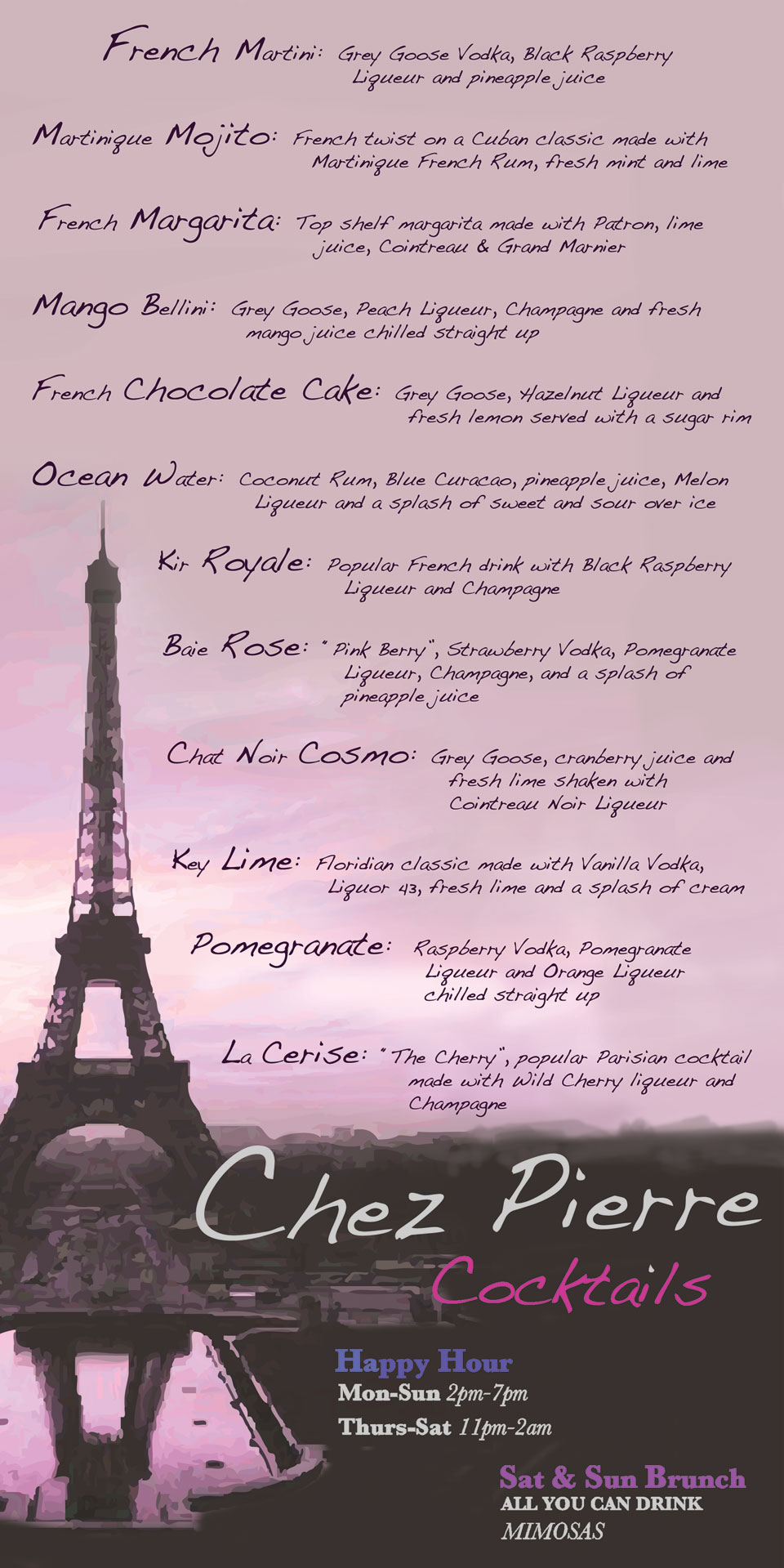 Gallery For Eiffel Tower Restaurant Menu