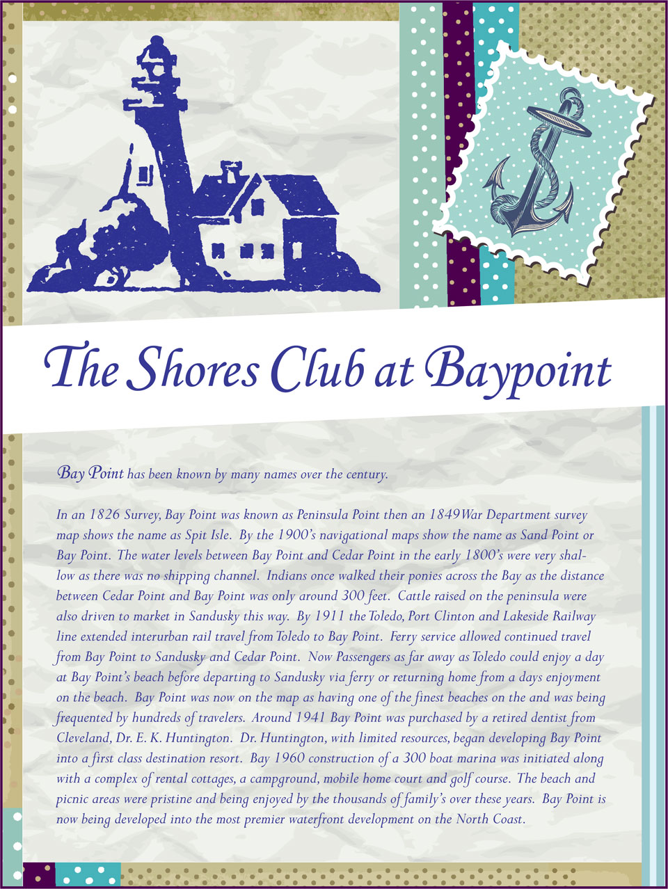 Baypoint Shores Club Menu Front Cover