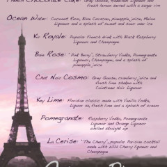 Eiffel Tower Cocktail Menu